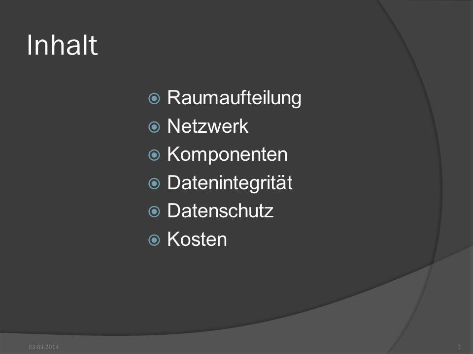 Inhalt Raumaufteilung Netzwerk Komponenten Datenintegrität Datenschutz Kosten 03.03.20142