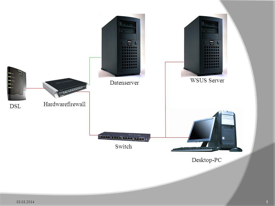 Hardwarefirewall Switch Datenserver Desktop-PC WSUS Server DSL 03.03.20145