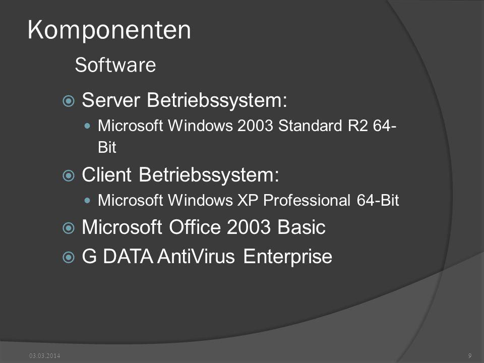 Komponenten Software Server Betriebssystem: Microsoft Windows 2003 Standard R2 64- Bit Client Betriebssystem: Microsoft Windows XP Professional 64-Bit Microsoft Office 2003 Basic G DATA AntiVirus Enterprise 03.03.20149