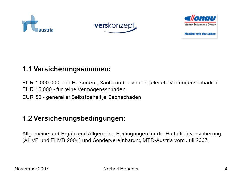 November 2007Norbert Beneder4 1.1 Versicherungssummen: EUR 1.000.000,- für Personen-, Sach- und davon abgeleitete Vermögensschäden EUR 15.000,- für re