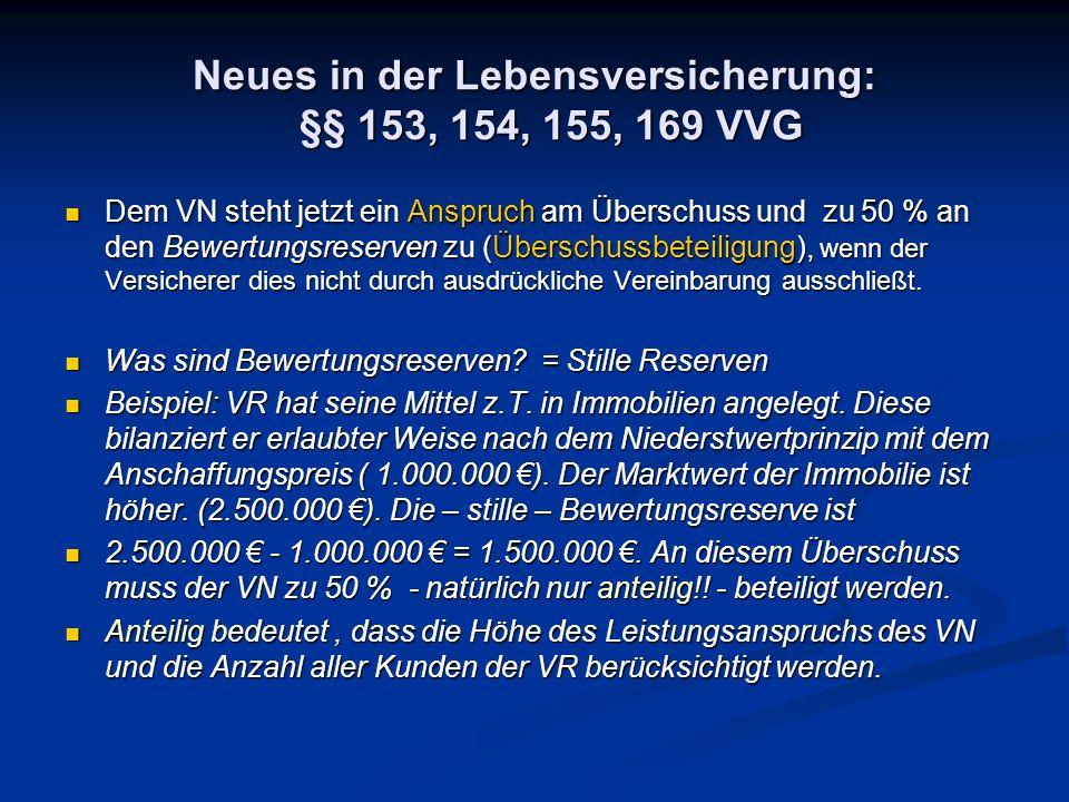 Neues in der Lebensversicherung: §§ 153, 154, 155, 169 VVG Dem VN steht jetzt ein Anspruch am Überschuss und zu 50 % an den Bewertungsreserven zu (Übe