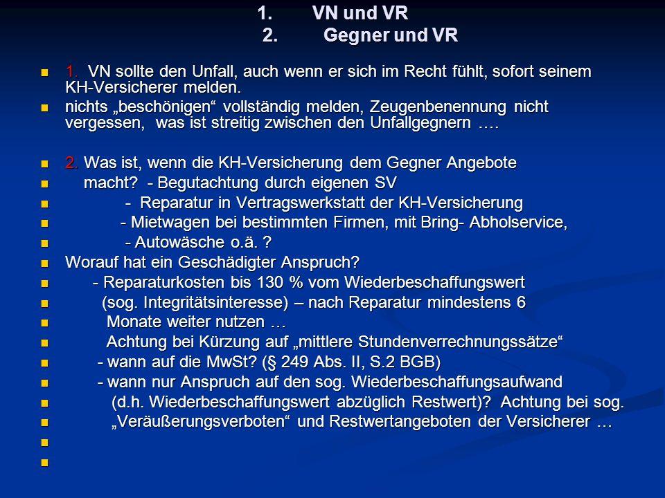 1.VN und VR 2. Gegner und VR 1.VN und VR 2. Gegner und VR 1. VN sollte den Unfall, auch wenn er sich im Recht fühlt, sofort seinem KH-Versicherer meld