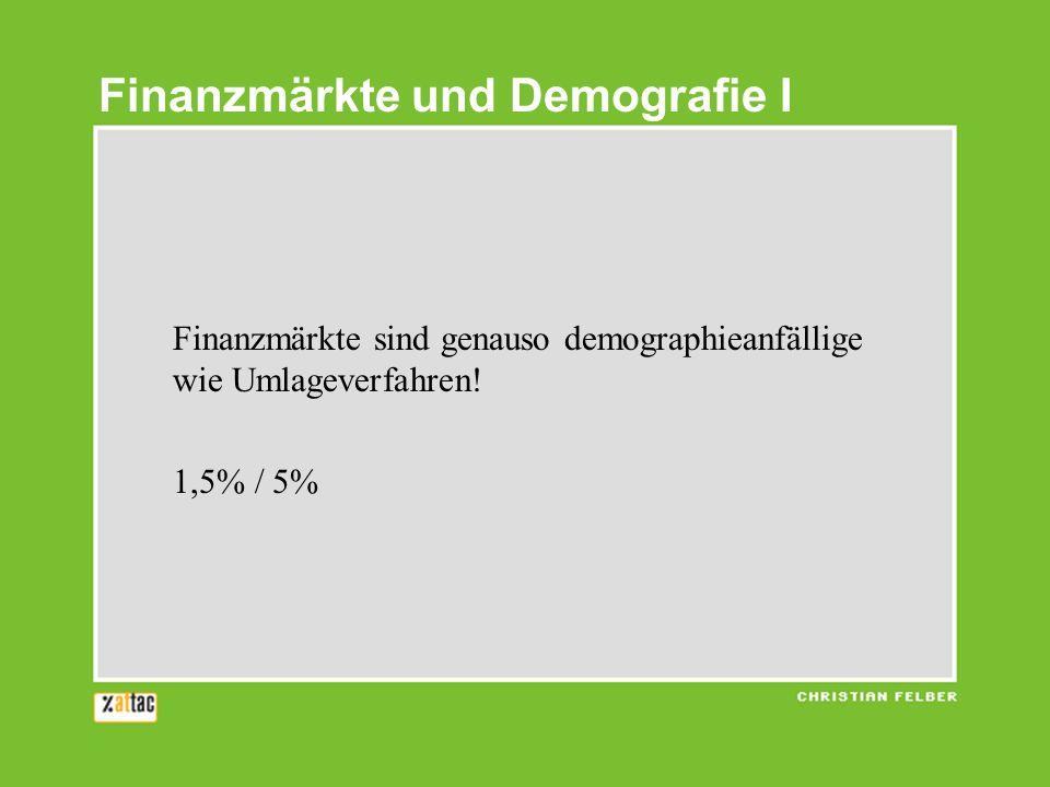 Finanzmärkte sind genauso demographieanfällige wie Umlageverfahren.