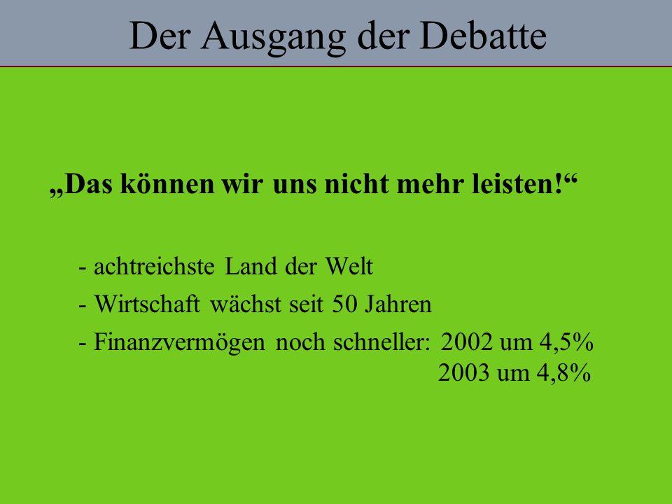Der Ausgang der Debatte Das können wir uns nicht mehr leisten.