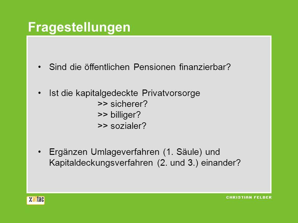 Sind die öffentlichen Pensionen finanzierbar.Ist die kapitalgedeckte Privatvorsorge >> sicherer.