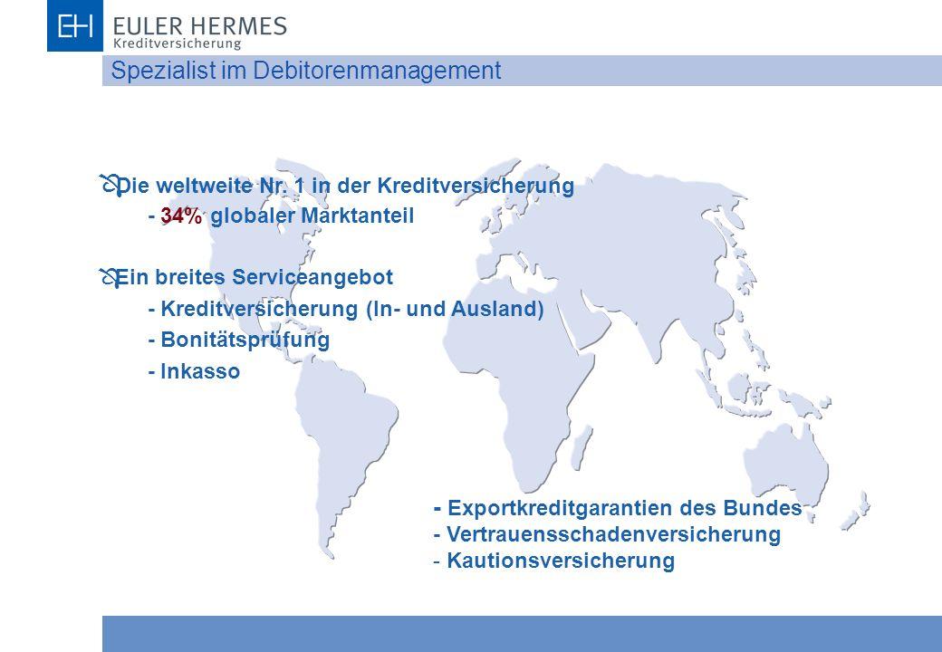 Spezialist im Debitorenmanagement Ô Die weltweite Nr. 1 in der Kreditversicherung - 34% globaler Marktanteil Ô Ein breites Serviceangebot - Kreditvers