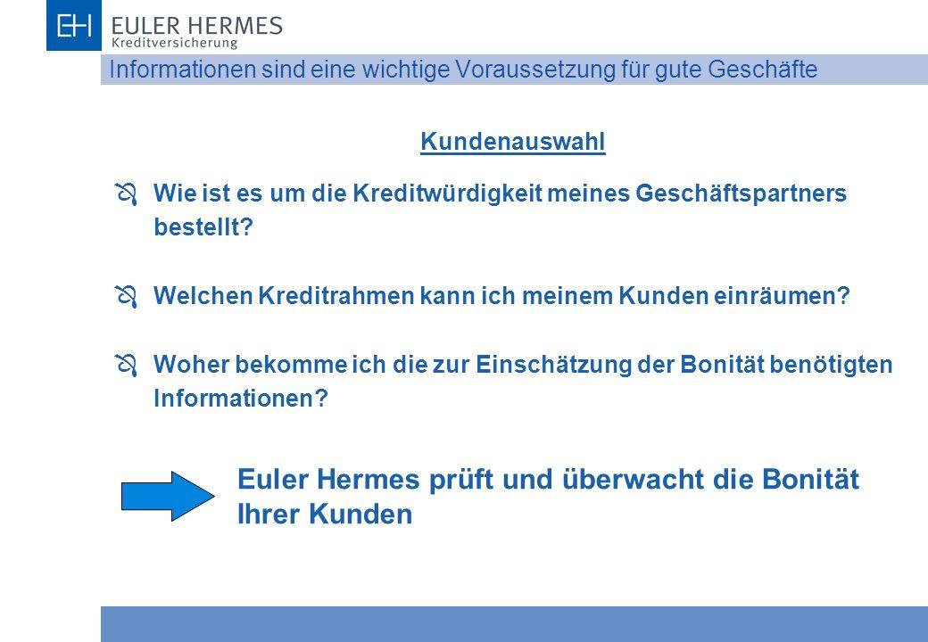 Informationen sind eine wichtige Voraussetzung für gute Geschäfte Kundenauswahl Ô Wie ist es um die Kreditwürdigkeit meines Geschäftspartners bestellt