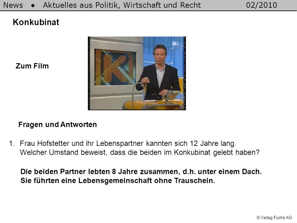 News Aktuelles aus Politik, Wirtschaft und Recht02/2010 © Verlag Fuchs AG Konkubinat 1.Frau Hofstetter und ihr Lebenspartner kannten sich 12 Jahre lang.