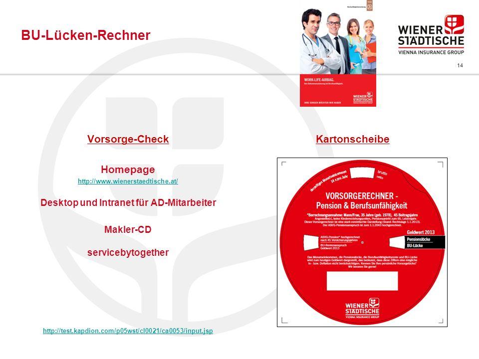 14 Vorsorge-Check Homepage http://www.wienerstaedtische.at/ Desktop und Intranet für AD-Mitarbeiter Makler-CD servicebytogether http://test.kapdion.co