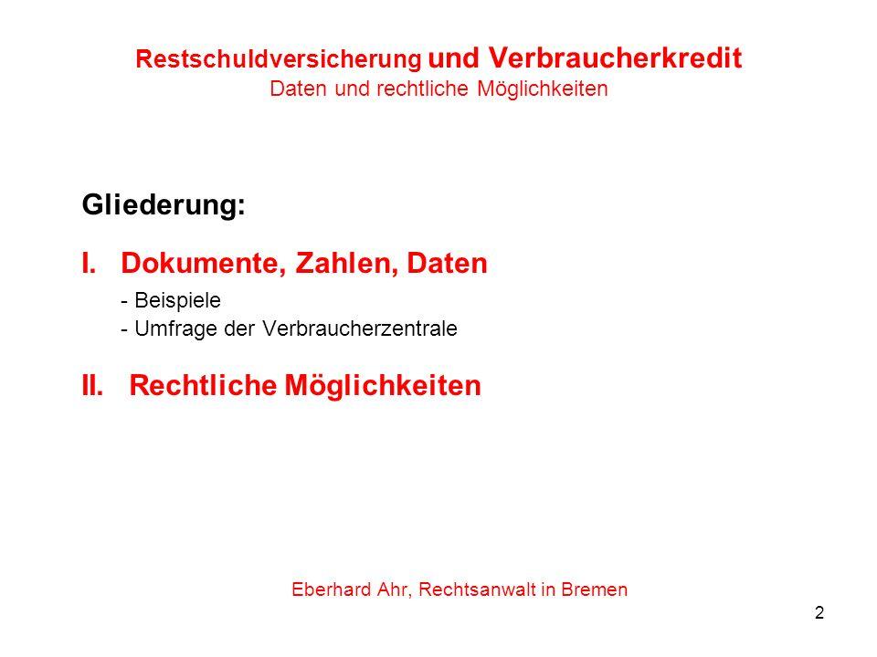 2 Restschuldversicherung und Verbraucherkredit Daten und rechtliche Möglichkeiten Gliederung: I.Dokumente, Zahlen, Daten - Beispiele - Umfrage der Ver