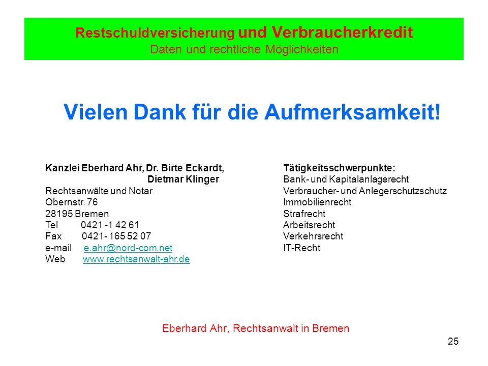 25 Restschuldversicherung und Verbraucherkredit Daten und rechtliche Möglichkeiten Vielen Dank für die Aufmerksamkeit! Eberhard Ahr, Rechtsanwalt in B
