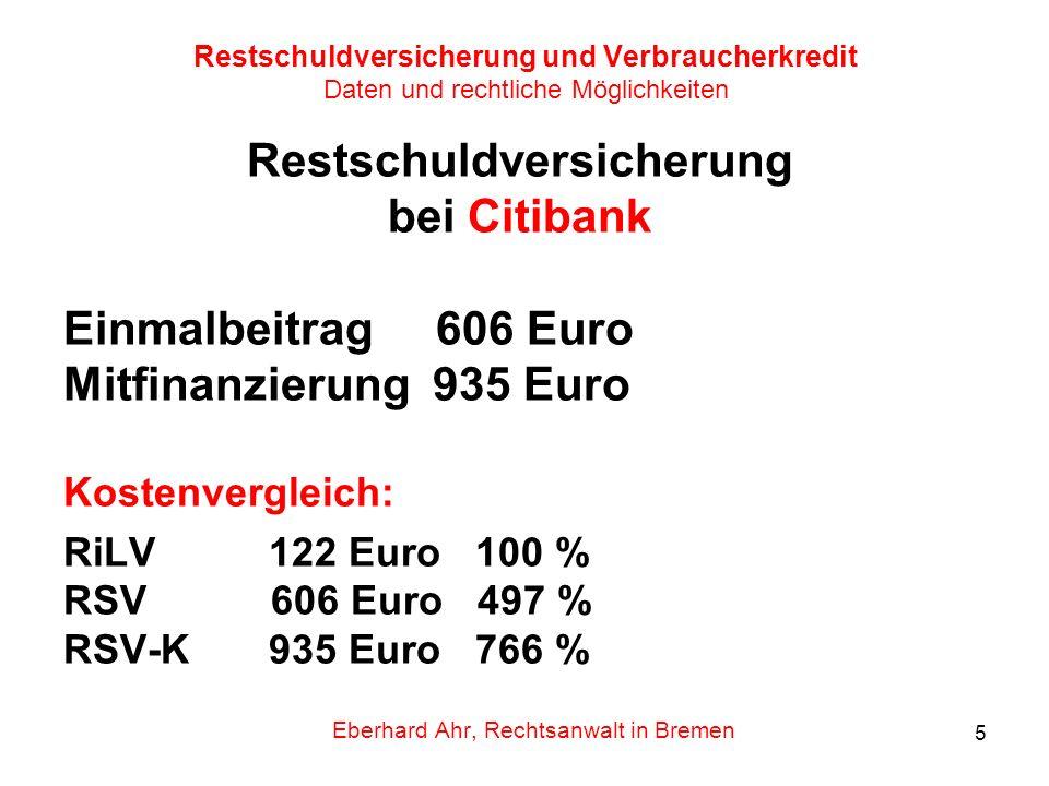 5 Restschuldversicherung und Verbraucherkredit Daten und rechtliche Möglichkeiten Restschuldversicherung bei Citibank Einmalbeitrag 606 Euro Mitfinanz