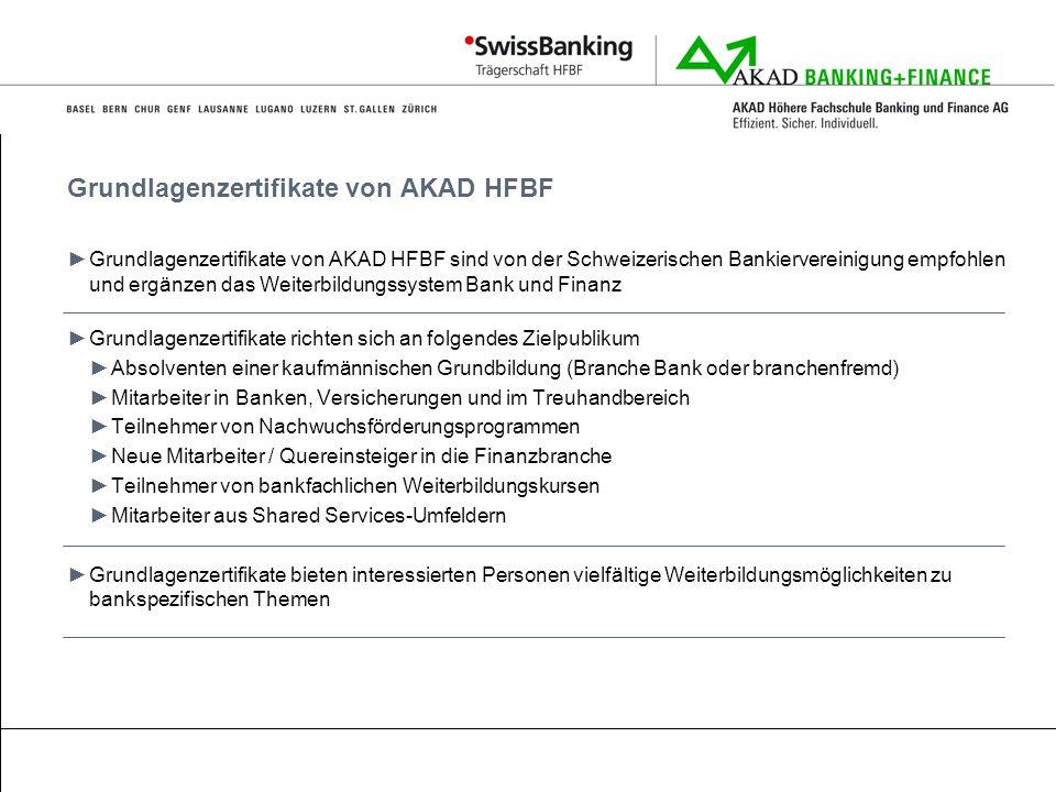 Grundlagenzertifikate von AKAD HFBF Grundlagenzertifikate von AKAD HFBF sind von der Schweizerischen Bankiervereinigung empfohlen und ergänzen das Wei