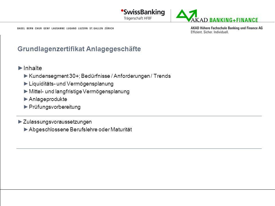 Grundlagenzertifikat Anlagegeschäfte Inhalte Kundensegment 30+; Bedürfnisse / Anforderungen / Trends Liquiditäts- und Vermögensplanung Mittel- und lan