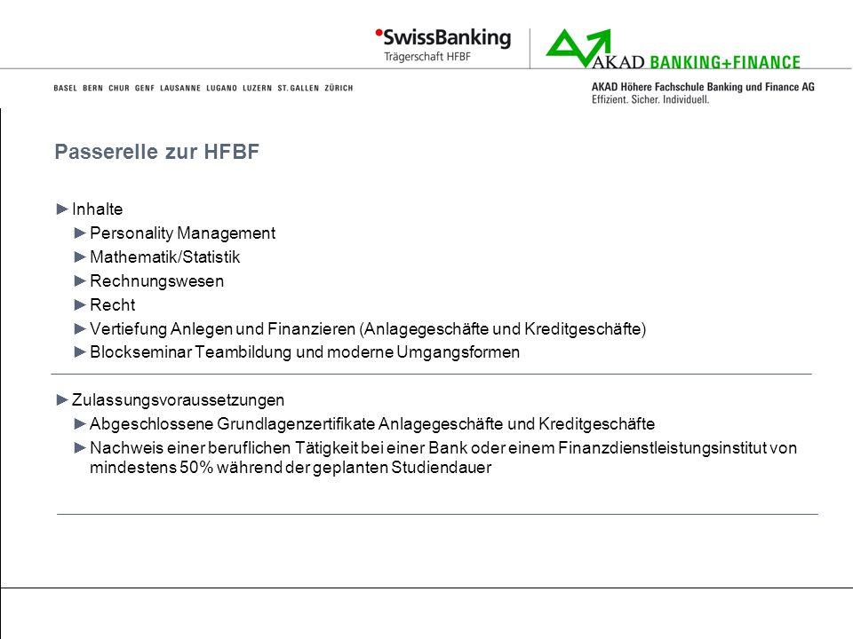 Passerelle zur HFBF Inhalte Personality Management Mathematik/Statistik Rechnungswesen Recht Vertiefung Anlegen und Finanzieren (Anlagegeschäfte und K