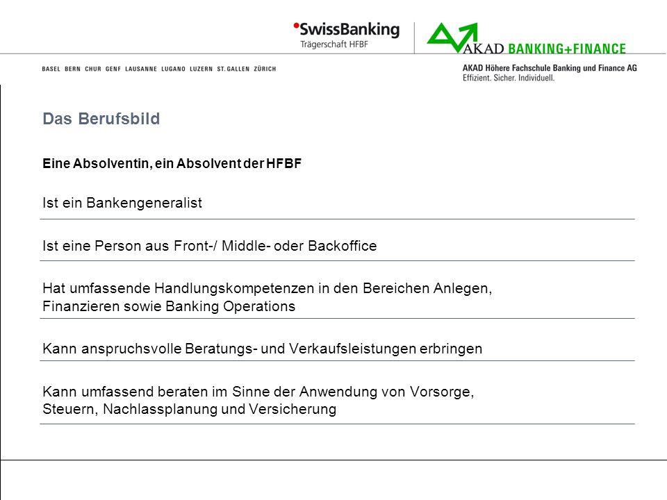 Das Berufsbild Eine Absolventin, ein Absolvent der HFBF Ist ein Bankengeneralist Ist eine Person aus Front-/ Middle- oder Backoffice Hat umfassende Ha