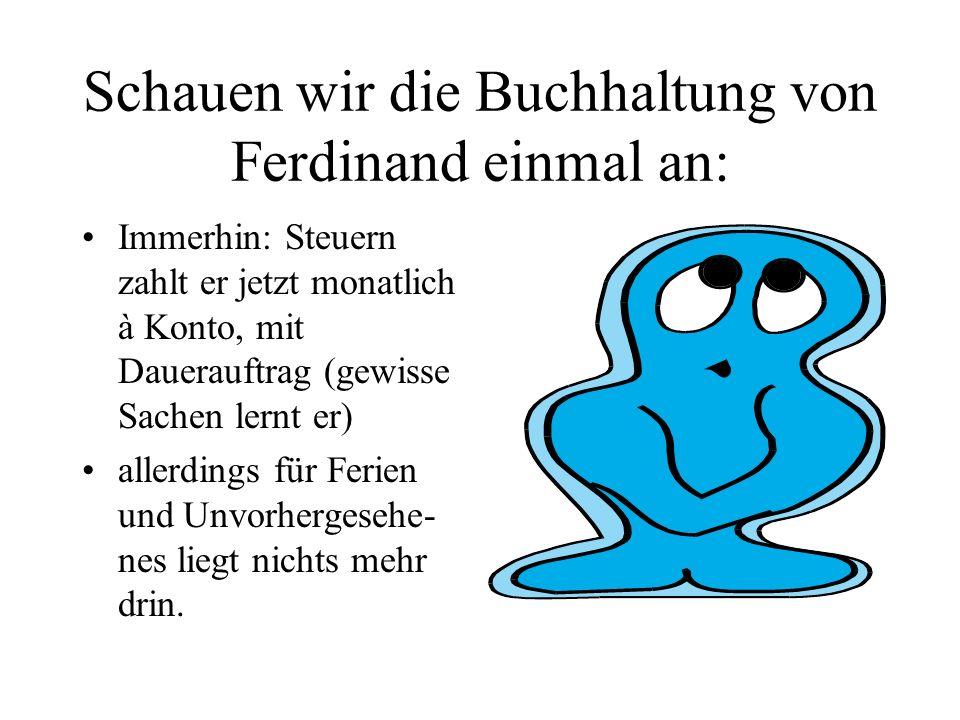 Schauen wir die Buchhaltung von Ferdinand einmal an: Immerhin: Steuern zahlt er jetzt monatlich à Konto, mit Dauerauftrag (gewisse Sachen lernt er) al