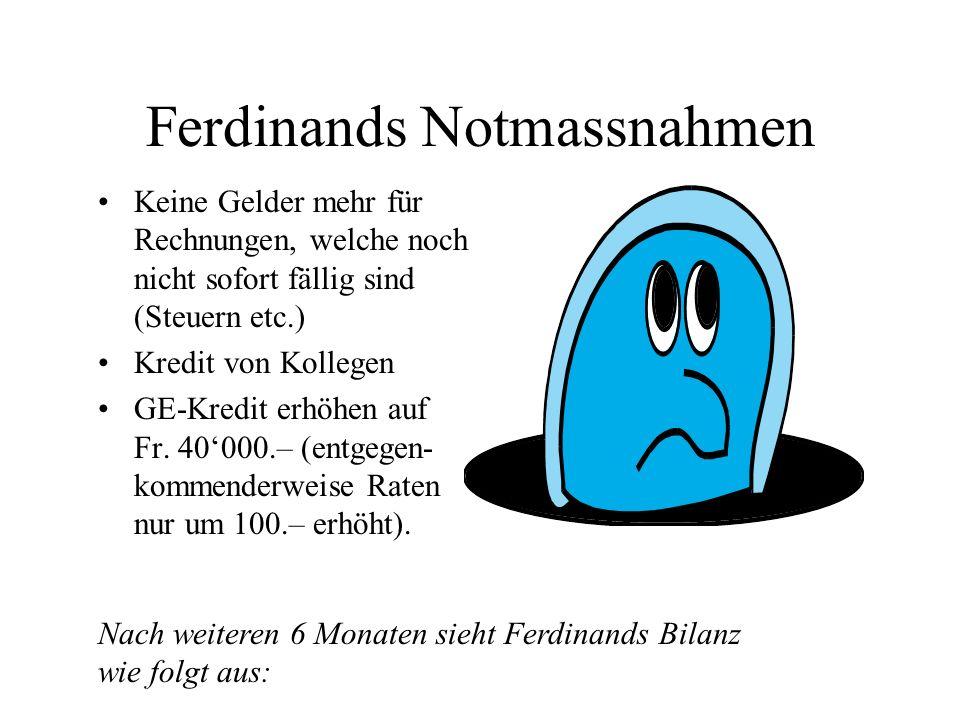 Ferdinands Notmassnahmen Keine Gelder mehr für Rechnungen, welche noch nicht sofort fällig sind (Steuern etc.) Kredit von Kollegen GE-Kredit erhöhen a