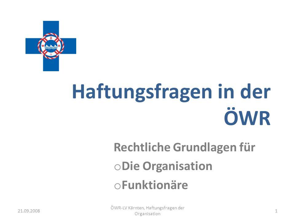 ÖWR-LV Kärnten, Haftungsfragen der Organisation 1 Haftungsfragen in der ÖWR Rechtliche Grundlagen für o Die Organisation o Funktionäre 21.09.2008