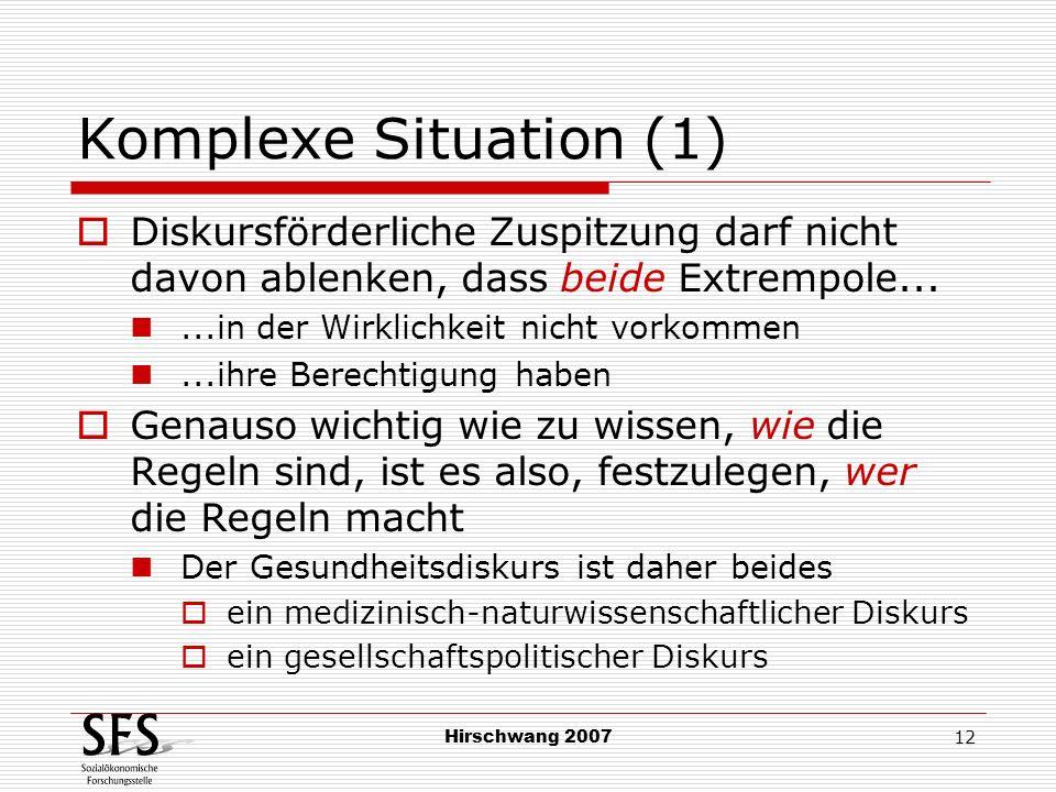 Hirschwang 2007 12 Komplexe Situation (1) Diskursförderliche Zuspitzung darf nicht davon ablenken, dass beide Extrempole......in der Wirklichkeit nich