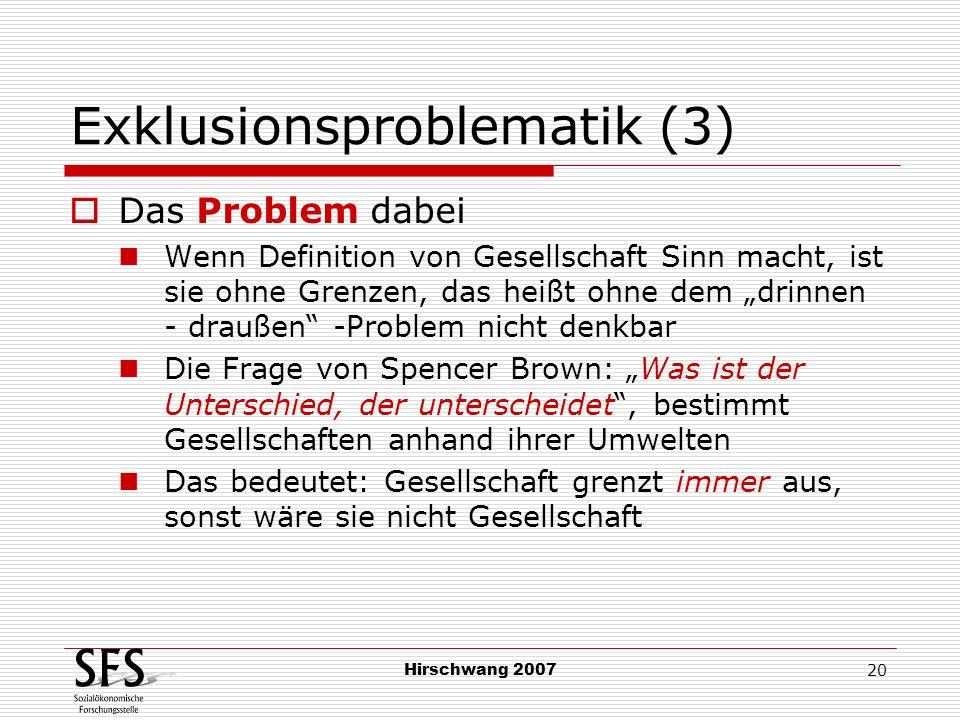 Hirschwang 2007 20 Exklusionsproblematik (3) Das Problem dabei Wenn Definition von Gesellschaft Sinn macht, ist sie ohne Grenzen, das heißt ohne dem d