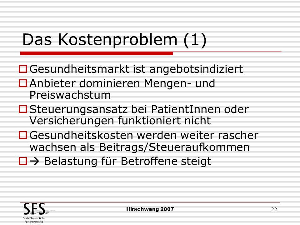 Hirschwang 2007 22 Das Kostenproblem (1) Gesundheitsmarkt ist angebotsindiziert Anbieter dominieren Mengen- und Preiswachstum Steuerungsansatz bei Pat