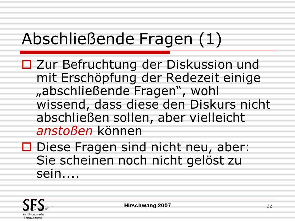 Hirschwang 2007 32 Abschließende Fragen (1) Zur Befruchtung der Diskussion und mit Erschöpfung der Redezeit einige abschließende Fragen, wohl wissend,