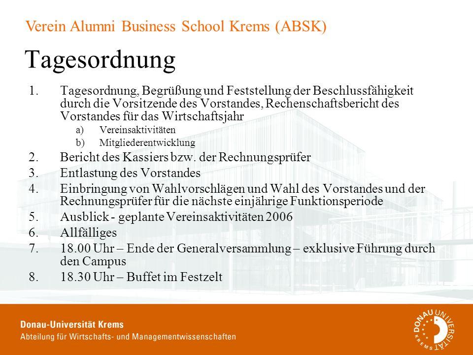 Verein Alumni Business School Krems (ABSK) Tagesordnung 1.Tagesordnung, Begrüßung und Feststellung der Beschlussfähigkeit durch die Vorsitzende des Vo
