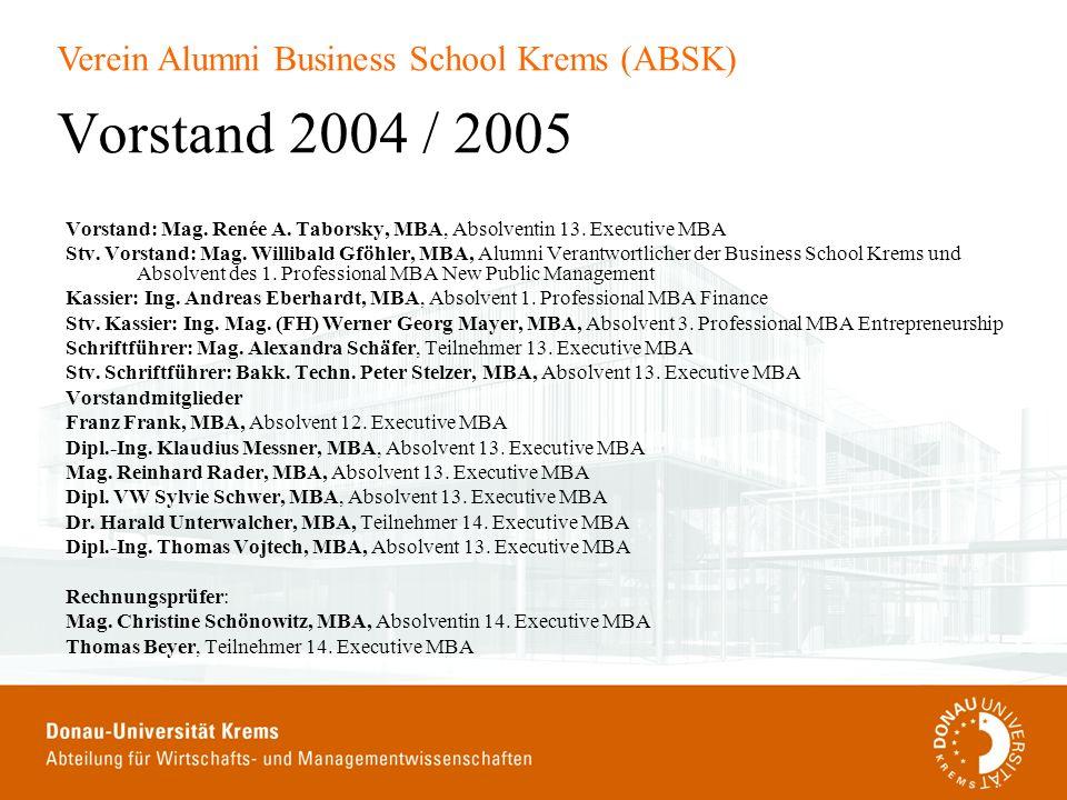 Verein Alumni Business School Krems (ABSK) Vorstand 2004 / 2005 Vorstand: Mag. Renée A. Taborsky, MBA, Absolventin 13. Executive MBA Stv. Vorstand: Ma