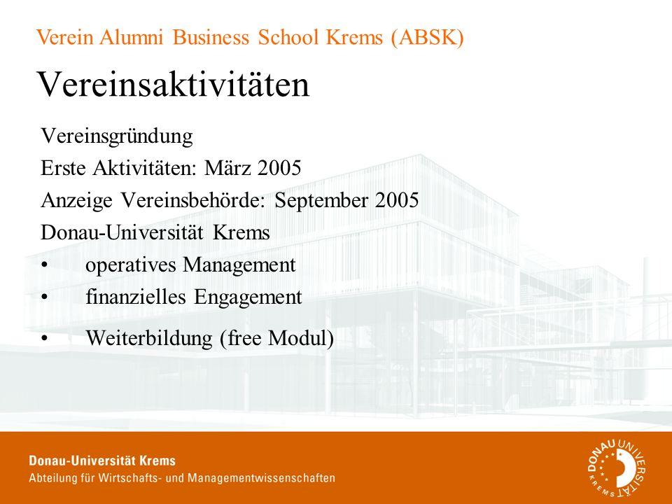 Verein Alumni Business School Krems (ABSK) Vereinsaktivitäten Vereinsgründung Erste Aktivitäten: März 2005 Anzeige Vereinsbehörde: September 2005 Dona