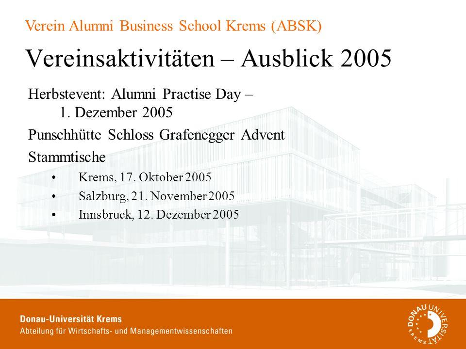 Verein Alumni Business School Krems (ABSK) Vereinsaktivitäten – Ausblick 2005 Herbstevent: Alumni Practise Day – 1. Dezember 2005 Punschhütte Schloss