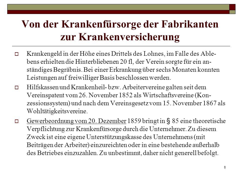 9 Von der Krankenfürsorge der Fabrikanten zur Krankenversicherung Allgemeiner Arbeiter- Kranken- und Invaliden-Unterstützungsverein nach 1867 vom Wiener Neustädter Arbeiterverein gegründet.