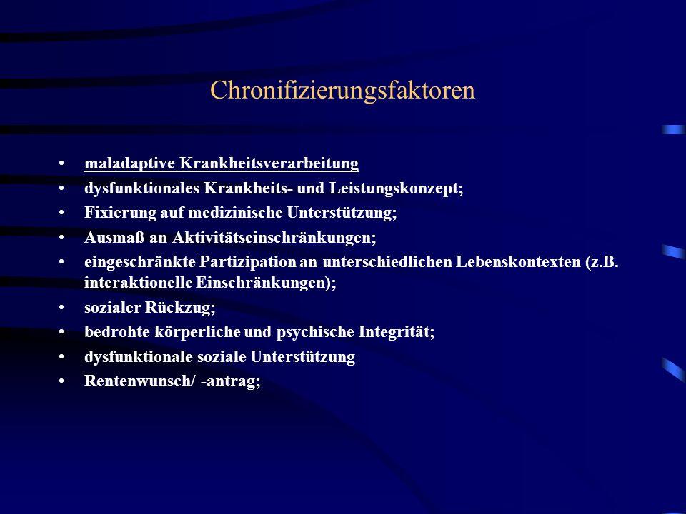 Chronifizierungsfaktoren maladaptive Krankheitsverarbeitung dysfunktionales Krankheits- und Leistungskonzept; Fixierung auf medizinische Unterstützung; Ausmaß an Aktivitätseinschränkungen; eingeschränkte Partizipation an unterschiedlichen Lebenskontexten (z.B.