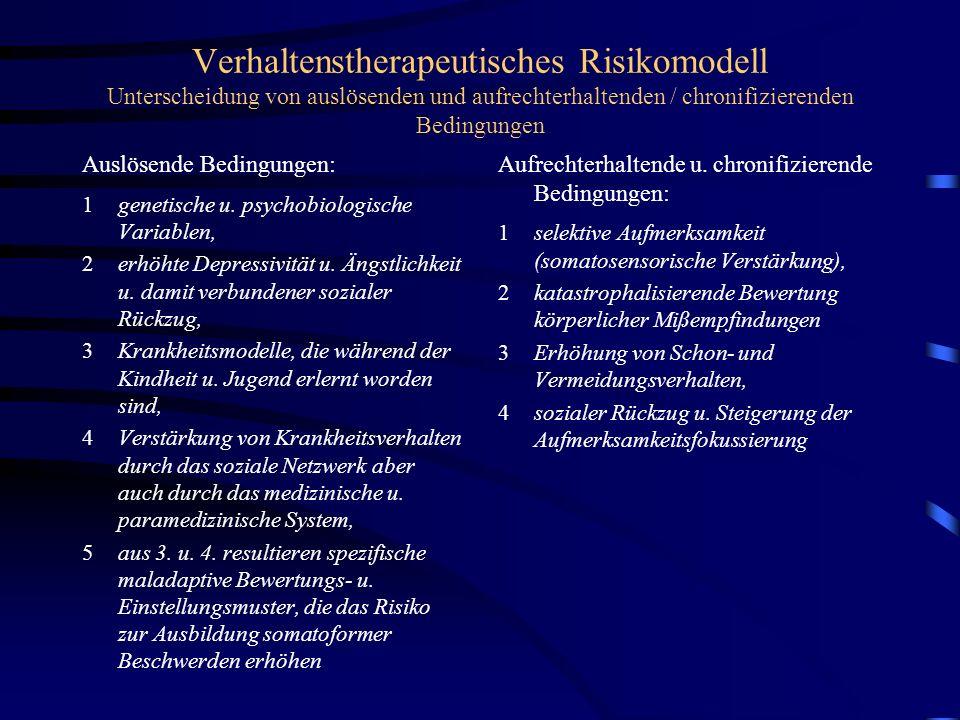 Verhaltenstherapeutisches Risikomodell Unterscheidung von auslösenden und aufrechterhaltenden / chronifizierenden Bedingungen Auslösende Bedingungen: 1genetische u.