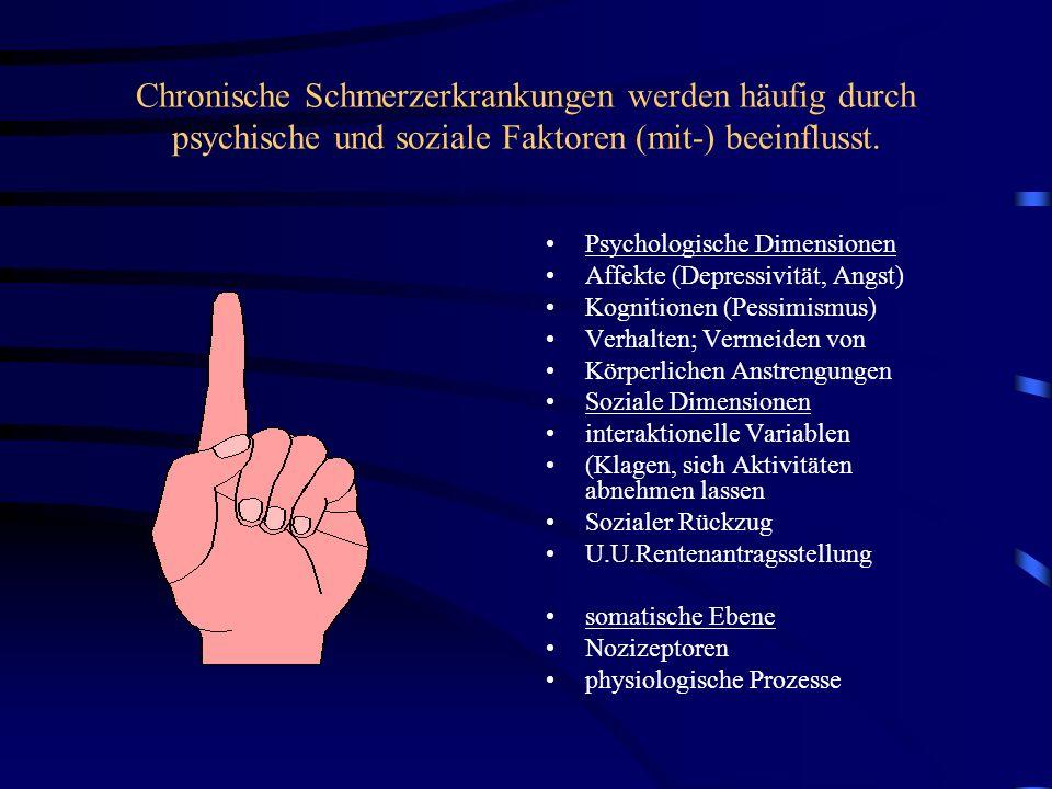 Chronische Schmerzerkrankungen werden häufig durch psychische und soziale Faktoren (mit-) beeinflusst. Psychologische Dimensionen Affekte (Depressivit