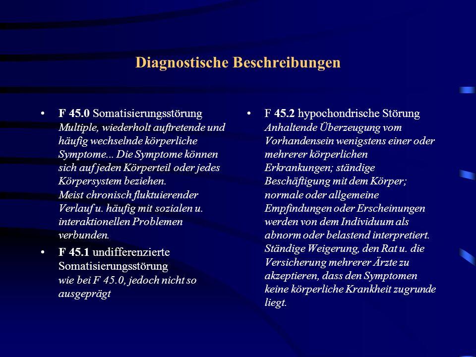 F 45 somatoforme Störungen F 45.3 somatoforme autonome Funktionsstörung Patient schildert die Symptome so, als beruhten sie auf der körperlichen Erkrankung eines weitgehend oder vollständig innervierten vegetativen Organsystems; Zwei Symptomgruppen ergeben das typische Bild: 1.