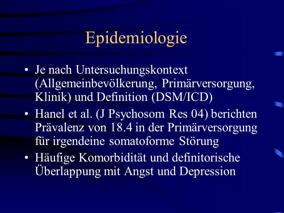 Epidemiologie Je nach Untersuchungskontext (Allgemeinbevölkerung, Primärversorgung, Klinik) und Definition (DSM/ICD) Hanel et al. (J Psychosom Res 04)