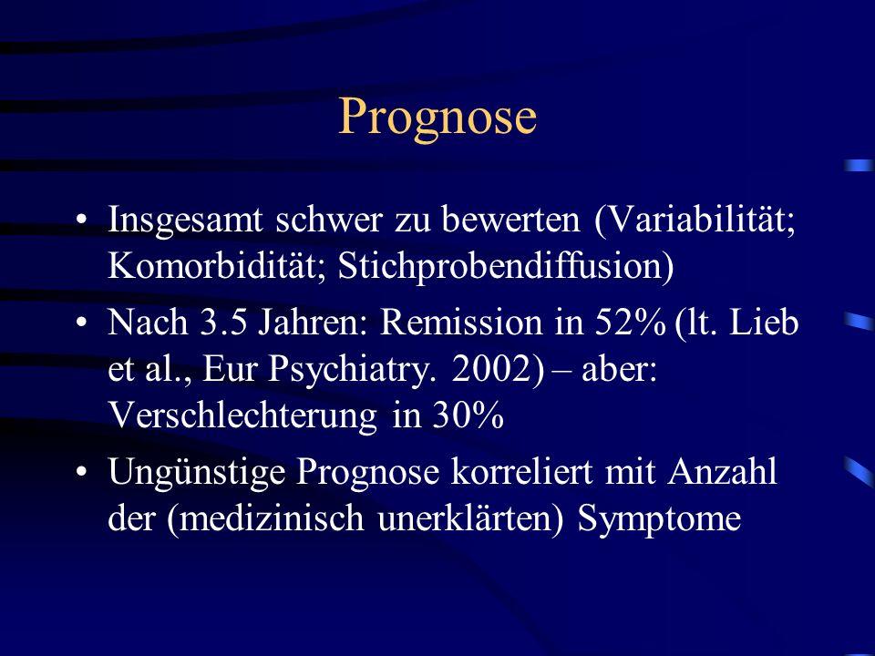 Prognose Insgesamt schwer zu bewerten (Variabilität; Komorbidität; Stichprobendiffusion) Nach 3.5 Jahren: Remission in 52% (lt. Lieb et al., Eur Psych