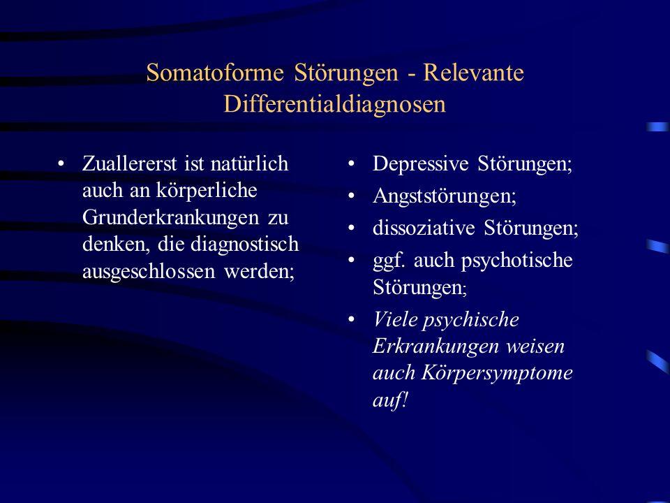Somatoforme Störungen - Relevante Differentialdiagnosen Zuallererst ist natürlich auch an körperliche Grunderkrankungen zu denken, die diagnostisch ausgeschlossen werden; Depressive Störungen; Angststörungen; dissoziative Störungen; ggf.