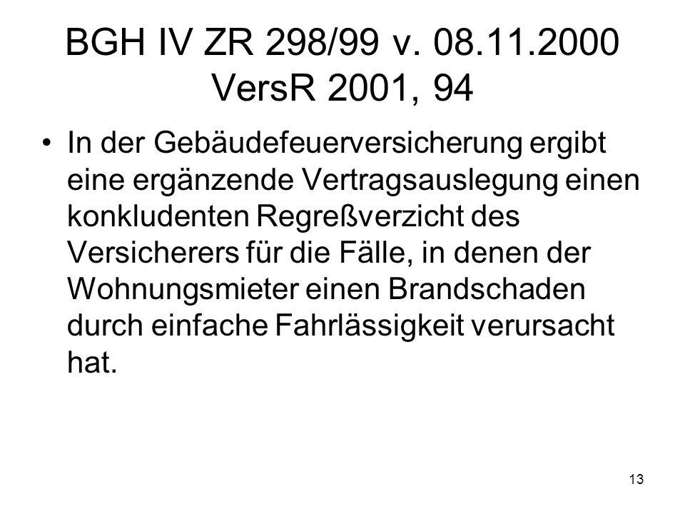 13 BGH IV ZR 298/99 v. 08.11.2000 VersR 2001, 94 In der Gebäudefeuerversicherung ergibt eine ergänzende Vertragsauslegung einen konkludenten Regreßver