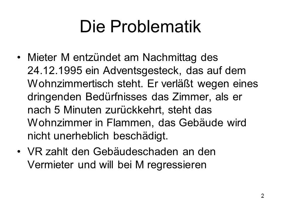 2 Die Problematik Mieter M entzündet am Nachmittag des 24.12.1995 ein Adventsgesteck, das auf dem Wohnzimmertisch steht. Er verläßt wegen eines dringe