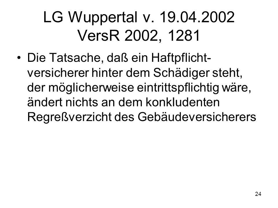 24 LG Wuppertal v. 19.04.2002 VersR 2002, 1281 Die Tatsache, daß ein Haftpflicht- versicherer hinter dem Schädiger steht, der möglicherweise eintritts