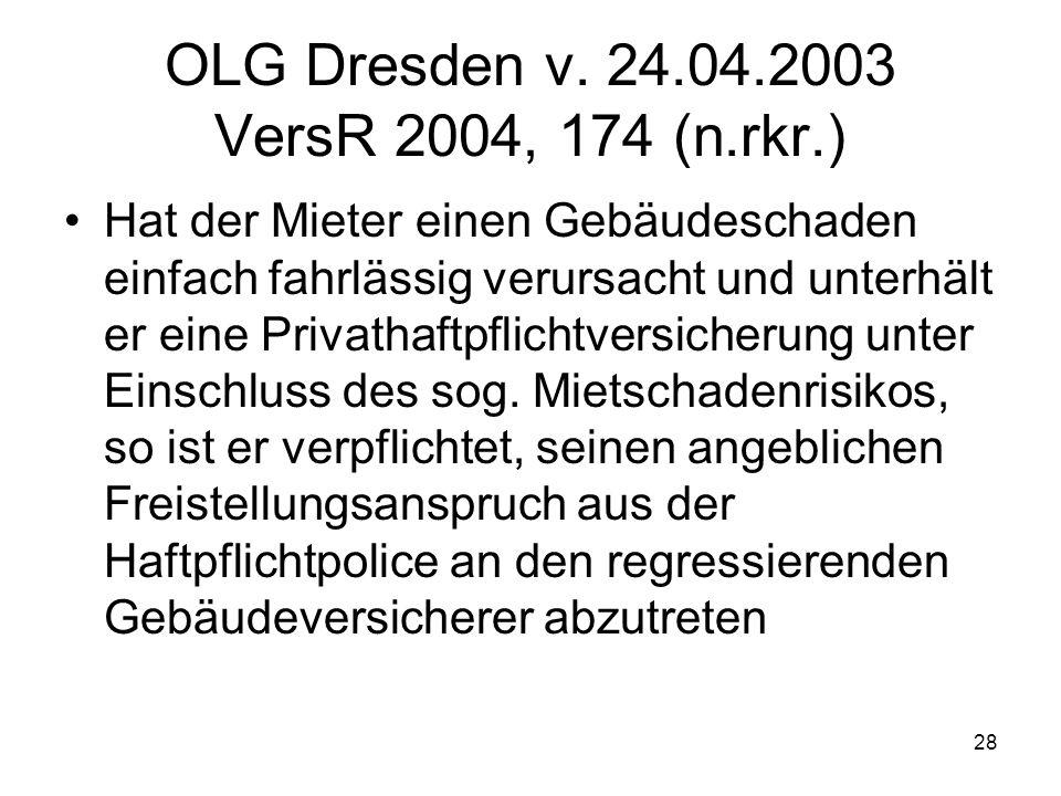 28 OLG Dresden v. 24.04.2003 VersR 2004, 174 (n.rkr.) Hat der Mieter einen Gebäudeschaden einfach fahrlässig verursacht und unterhält er eine Privatha