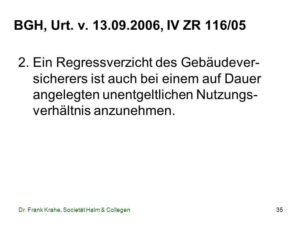 35 BGH, Urt. v. 13.09.2006, IV ZR 116/05 2. Ein Regressverzicht des Gebäudever- sicherers ist auch bei einem auf Dauer angelegten unentgeltlichen Nutz