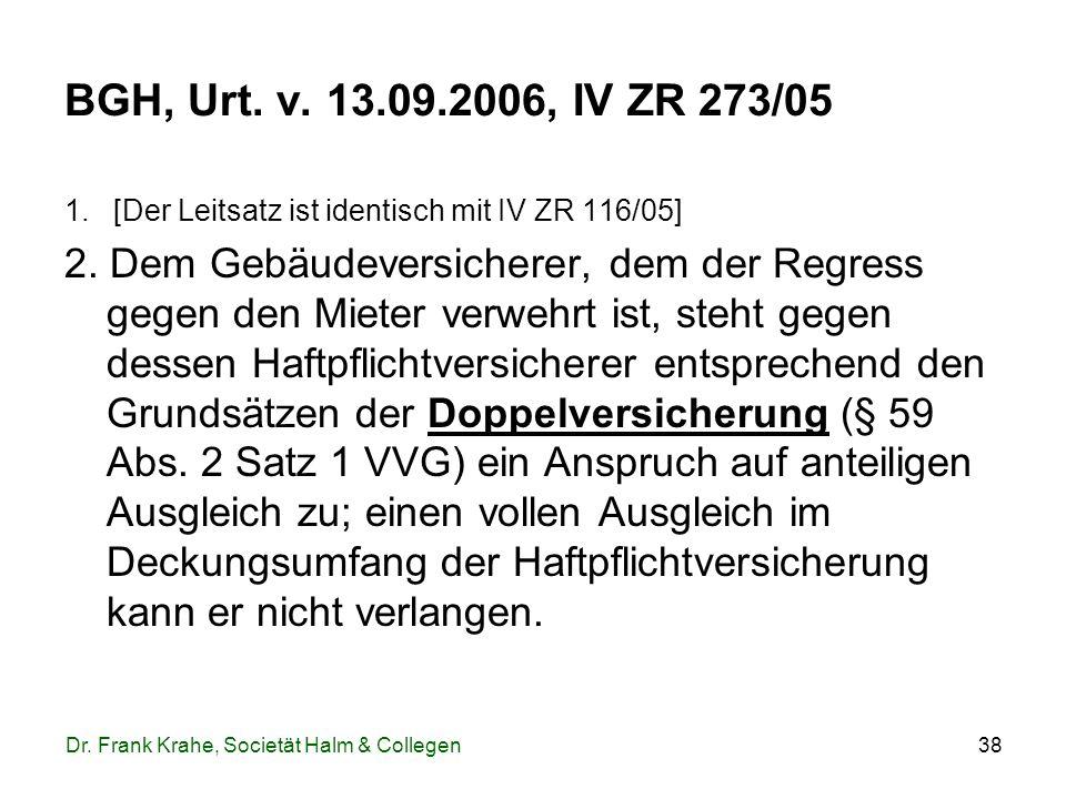 38 BGH, Urt. v. 13.09.2006, IV ZR 273/05 1. [Der Leitsatz ist identisch mit IV ZR 116/05] 2. Dem Gebäudeversicherer, dem der Regress gegen den Mieter