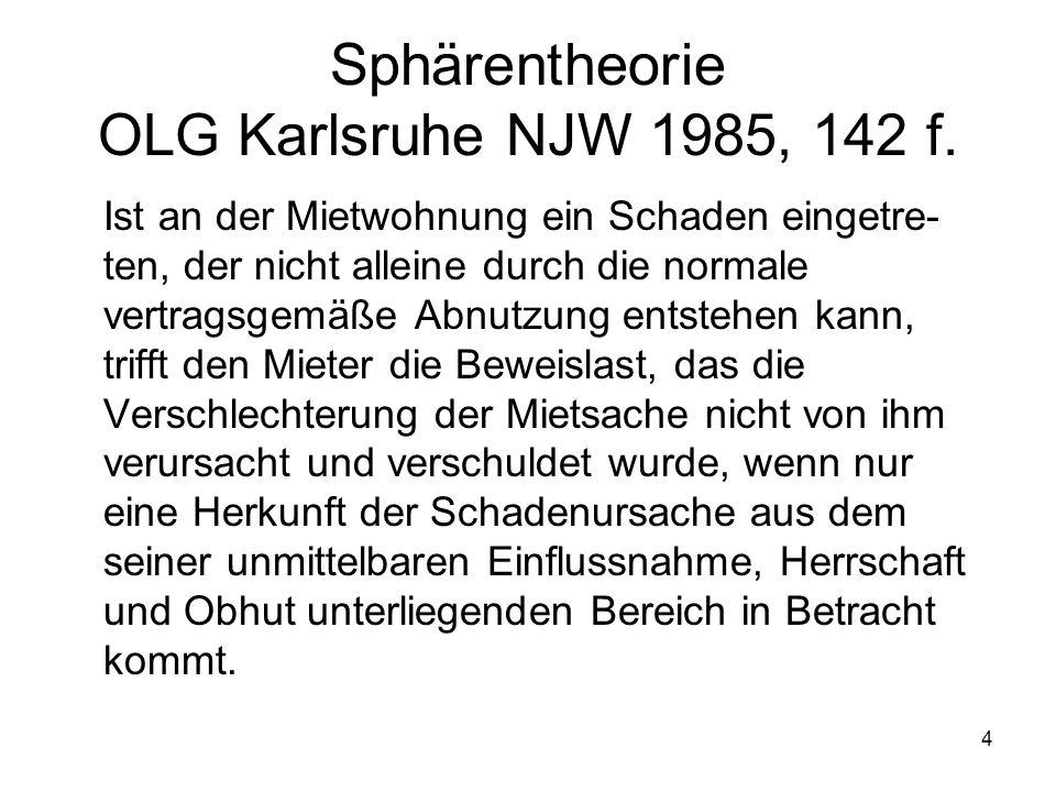 4 Sphärentheorie OLG Karlsruhe NJW 1985, 142 f. Ist an der Mietwohnung ein Schaden eingetre- ten, der nicht alleine durch die normale vertragsgemäße A