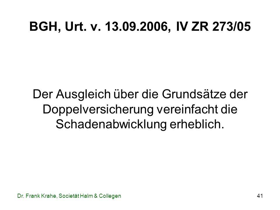 41 BGH, Urt. v. 13.09.2006, IV ZR 273/05 Der Ausgleich über die Grundsätze der Doppelversicherung vereinfacht die Schadenabwicklung erheblich. Dr. Fra