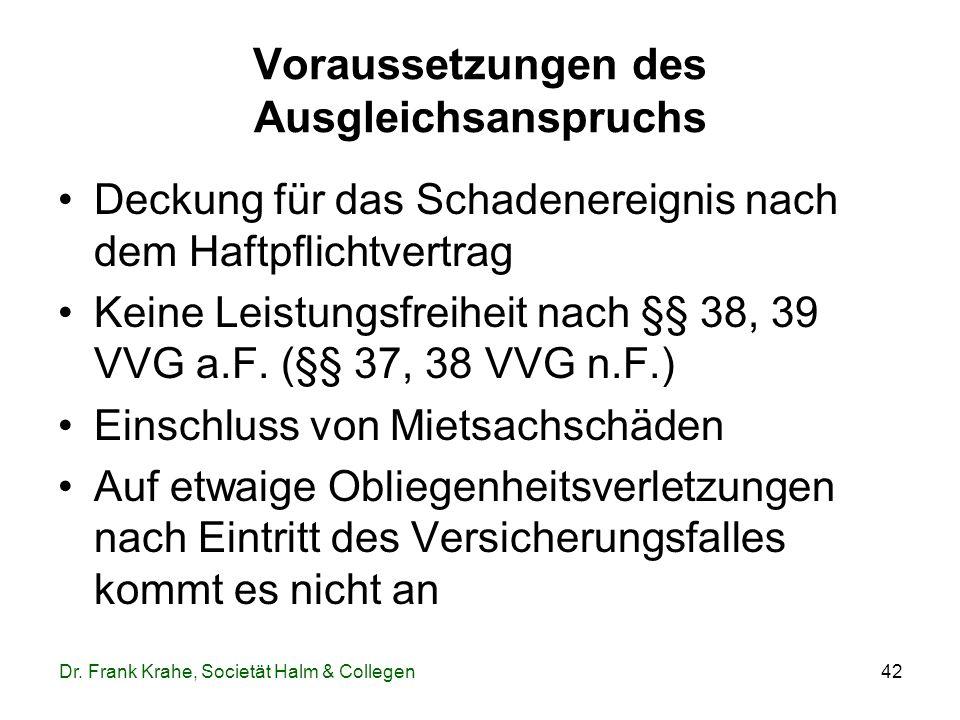42 Voraussetzungen des Ausgleichsanspruchs Deckung für das Schadenereignis nach dem Haftpflichtvertrag Keine Leistungsfreiheit nach §§ 38, 39 VVG a.F.