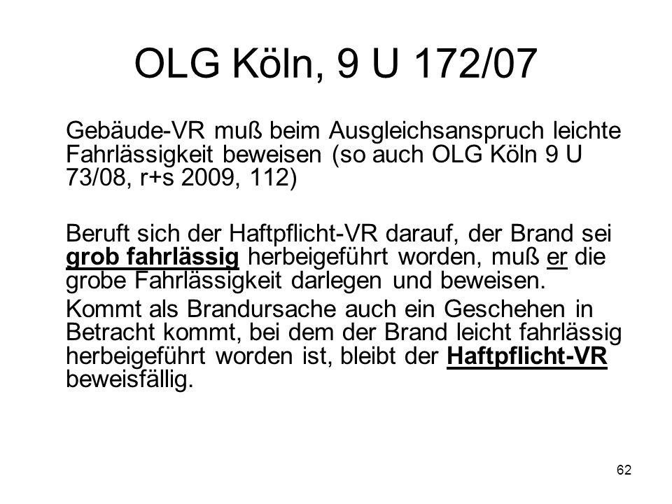 62 OLG Köln, 9 U 172/07 Gebäude-VR muß beim Ausgleichsanspruch leichte Fahrlässigkeit beweisen (so auch OLG Köln 9 U 73/08, r+s 2009, 112) Beruft sich