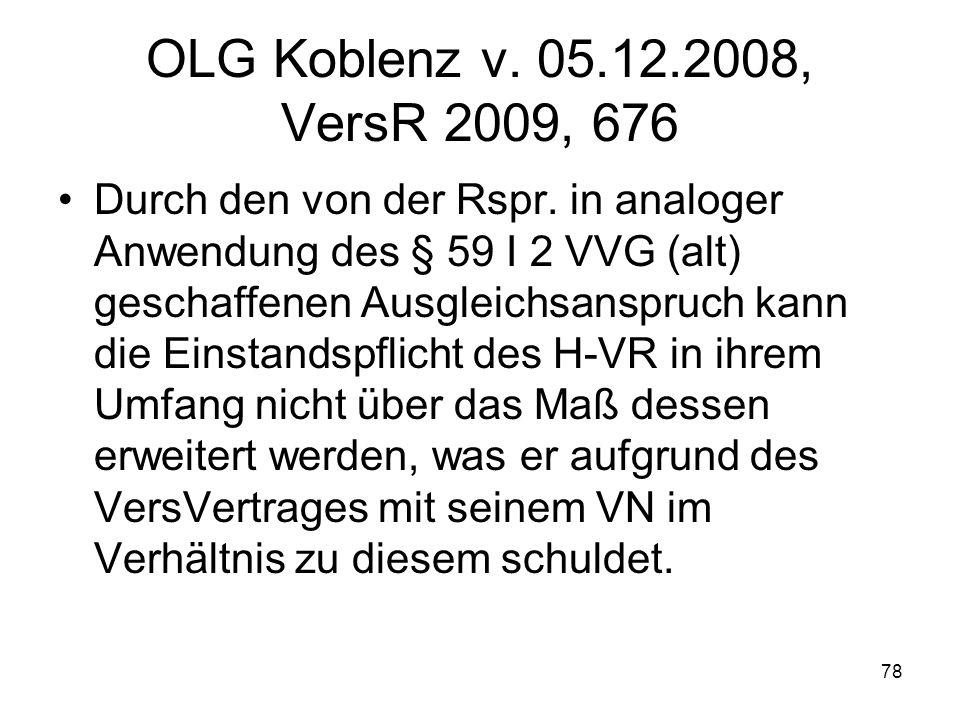 78 OLG Koblenz v. 05.12.2008, VersR 2009, 676 Durch den von der Rspr. in analoger Anwendung des § 59 I 2 VVG (alt) geschaffenen Ausgleichsanspruch kan